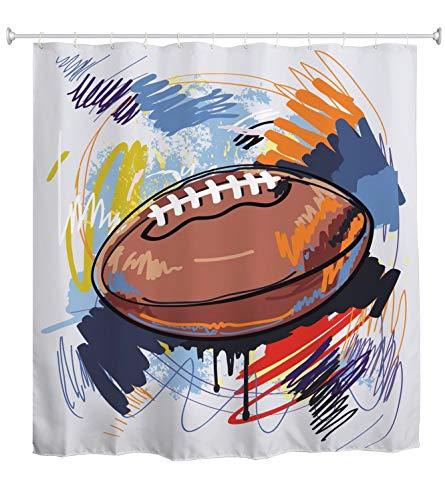 A.Monamour Duschvorhang Aquarell American Football Rugby Sport Skizze Graffiti Abstrakte Kunst Druck Wasserdicht Polyester Duschvorhang Set Mit Haken Für Bad 180X200 cm / 72