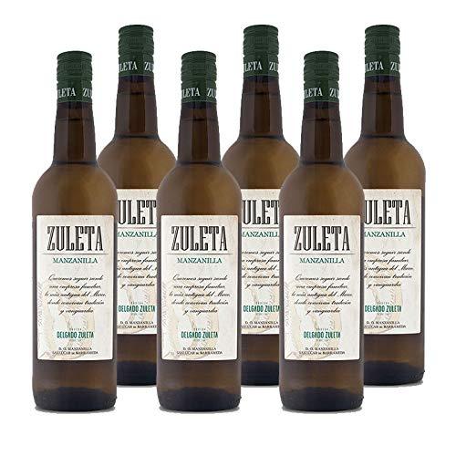 Vino Manzanilla Zuleta de 75 cl - D.O. Manzanilla Sanlucar - Bodegas Delgado Zuleta (Pack de 6 botellas)