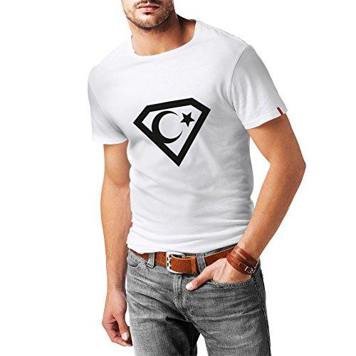 N4120 Länder Kult Fan T-Shirt - Türkiye Türkei Mondstern Größen und Farben S-XXL (M, Weiß T-Shirt/Schwarz Bild)