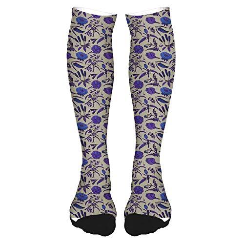 Calcetines altos de algodón sobre la rodilla, calcetines de surf para cachorros con gafas de sol y flores tropicales de hibisco hawaiano, calcetines largos hasta la rodilla para hombre y mujer