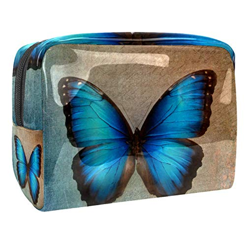 Maquillage Cosmetic Case Multifunction Travel Toiletry Storage Bag Organizer for Women - Vintage Blue Butterfly