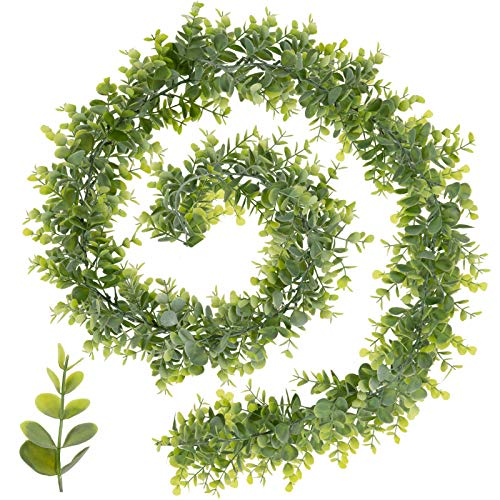 Whaline Artificial Eucalyptus Garland Faux Eucalyptus Leaves Vines Plastic Greenery Garland for Home Garden Wall Doorway Backdrop Decoration Birthday Party Wedding Arch Decor 6 Feet