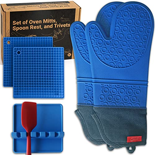 Silicone Oven Mitts and Pot Holders Sets Blue WITH UTENSIL REST –...