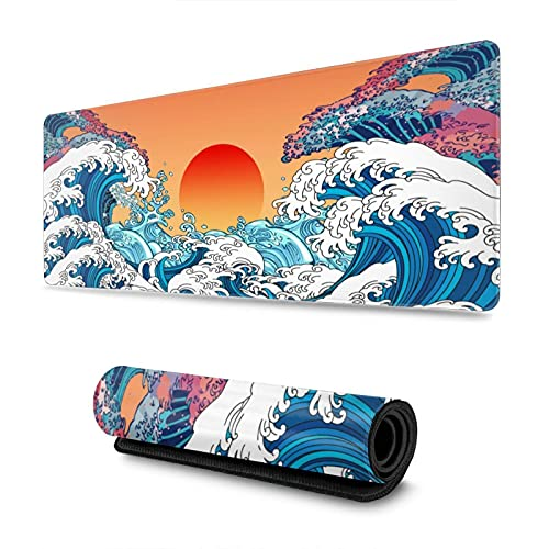 Vintage Japanese Ocean Kanagawa Wave Sunrise Gaming Mouse Pad XL, Extended Large Mouse Mat Desk Pad, Stitched Edges Mousepad, Long Non Slip Rubber Base Mice Pad, 31.5 X 11.8 Inch