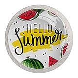 Hello Summer - Tiradores y pomos para gabinete de sandía (4 unidades)