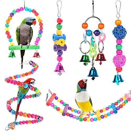 AYQNMHR 6 Pezzi Giochi per pappagalli, Colorato Giocattoli Pappagallo di Uccelli, Giocattolo da Masticare Altalena Appesa Giocattoli Gabbia per pappag
