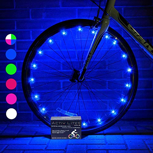 Activ Life Bike Wheel Lights (2 Tires, Blue) Best Gifts for Men for Easter Basket Stuffing & Birthday Gifts, Teens & Boys. Top Unique Presents for Kids 2020 Ideas for Him, Dad, Brother, Uncle