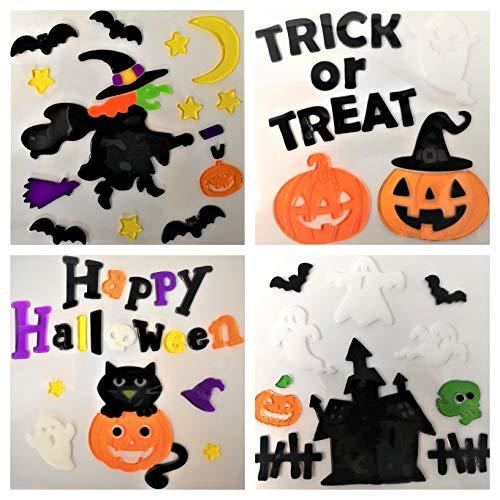 Tallon - 4 Blatt Halloween-Gel-Sticker, Halloween-Fenstergel Haftet