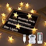 Cadena de Luces Estrellas, Luces de Hadas Estrella de 8 Modos de Iluminación, 5M 30LED Baterías USB Powered Luces de Estrellas, Luces Iluminación decorativa para Festival Fiesta Boda - Blanco Cálido