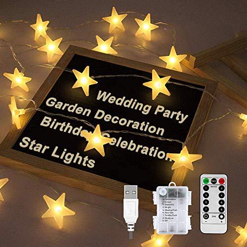 Led Lichterkette Sterne, Nasharia Lichterketten 8 Modi 30er Sterne 5M Länge LED Lichterkette mit USB Port Ladung und Batteriebetrieben Warmweiß Lichterketten für Zimmer, Innenbeleuchtung, Weihnachten