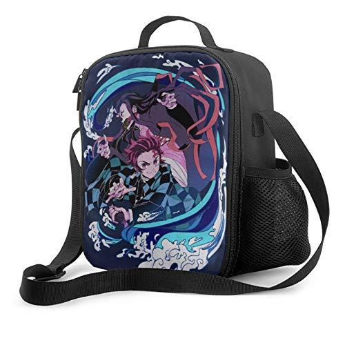 Demon Slayer Custom anime Lunch Bag With Adjustable Shoulder Strap Reusable Leakproof Lunch Box For Men Women Kids, For Outdoor Activities Work School Bento Bag Custom Bento Box