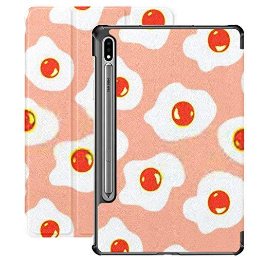 Funda Galaxy Tablet S7 Plus de 12,4 Pulgadas 2020 con Soporte para bolígrafo S, Funda Protectora Tipo Folio con Soporte Delgado de Huevos de patrón Transparente para Samsung