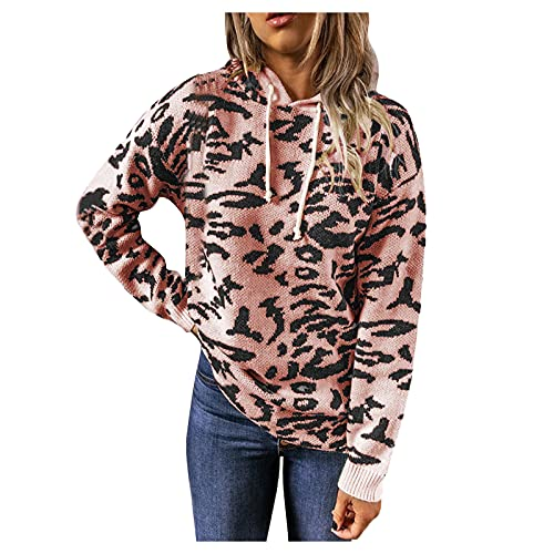 YTZL Sudadera con capucha para mujer, de gran tamaño, con estampado de leopardo, para otoño e invierno, Rosa., XXXL
