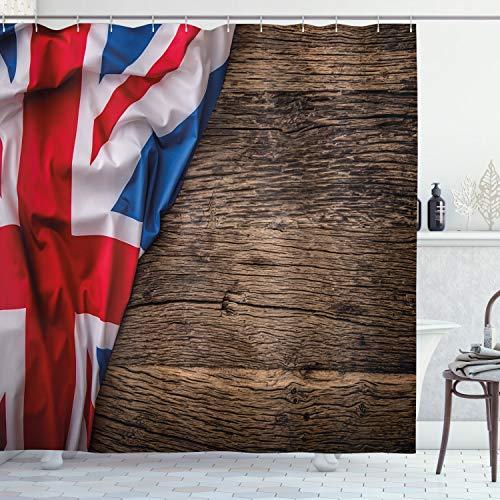 ABAKUHAUS Union Jack Duschvorhang, Flagge auf Eichenbrett, Hochwertig mit 12 Haken Set Leicht zu pflegen Farbfest Wasser Bakterie Resistent, 175 x 180 cm, Multicolor