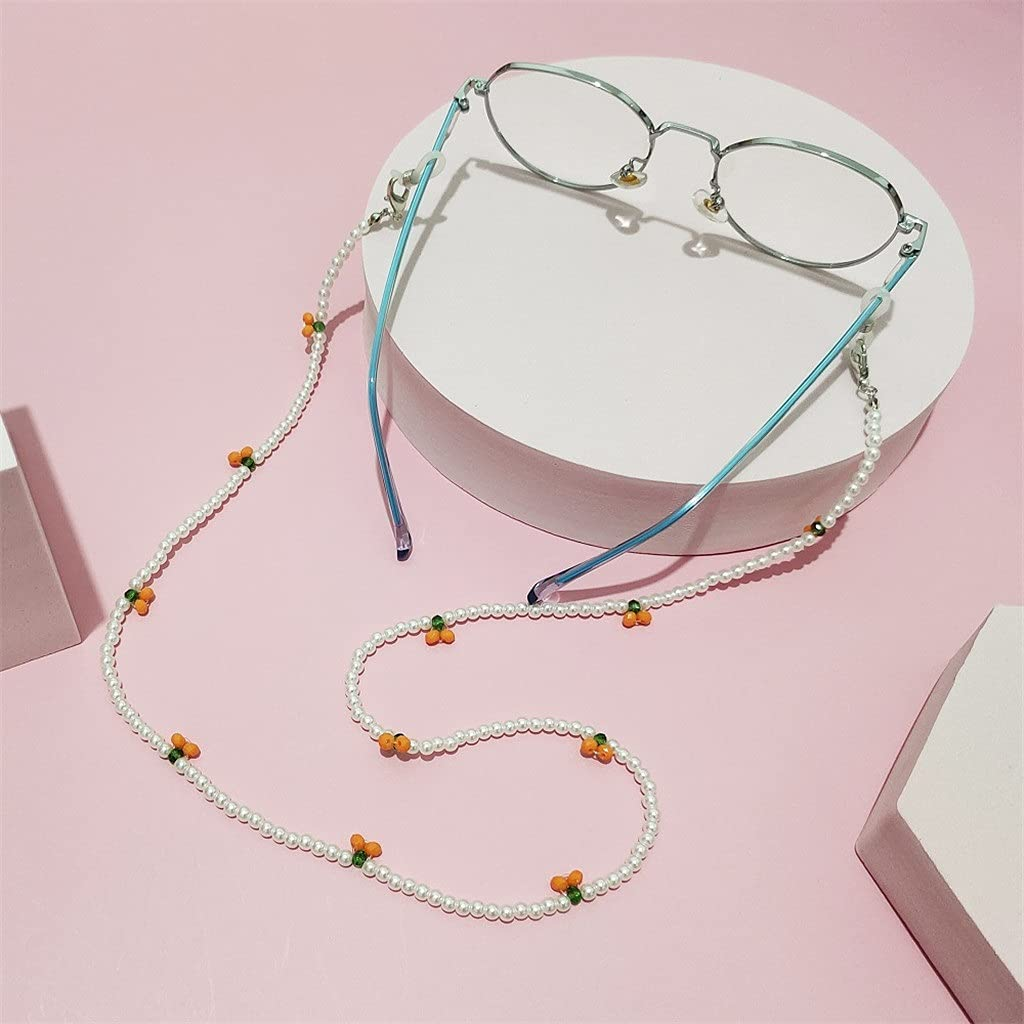 YFQHDD Crystal Cherry Glasses Chain Cute Transparent Beads Pear Chain Neck Straps Sunglasses Lanyard Women Jewelry (Color : D, Size : Length-70CM)