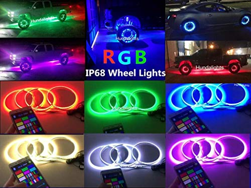 15.5' Multi-Color RGB Shift Changing Wheel Ring Rim Lights for Truck Vehicle Kit Light up Tires for...
