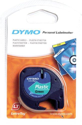 Dymo Authentisch Kunststoffetiketten LetraTag, 12 mm x 4 m, schwarz auf grün, für Dymo LetraTag Etikettendrucker