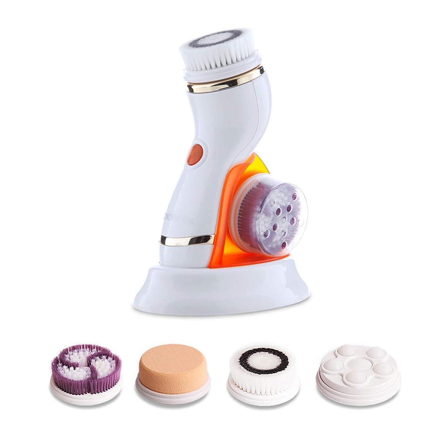 打ち負かす軍ズボン顔の清潔になるブラシ、4つの取り替え可能な頭部と再充電可能な超音波電気表面清潔になる装置防水穏やかな剥離USB,Orange