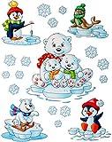 alles-meine.de GmbH 1 Bogen: Fensterbilder -  Tiere im Winter  - Wintertiere / Eisbären / Schneeflocken / Schneemann - statisch haftend - selbstklebend + wiederverwendbar / Sti..