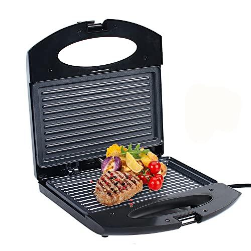 Sandwichera con Placas de Parrilla Tamaño Compacto con Compartimento para Cable 750 W Recubrimiento Antiadherente