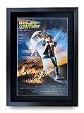 HWC Trading Back To The Future A3 Encadré Signé Image Autographe Imprimé Impression Photo Cadeau D'Affichage Pour Christopher Lloyd Michael J Fox Les Amateurs De Cinéma