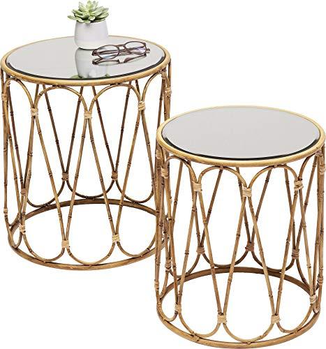 Kare Design Beistelltisch Bamboo Loop (2/Set), filigraner Beistelltisch in Bambus Optik im 2er Set, runder Tisch in Naturfarbe, verspiegelte Glasplatte (H/B/T) 46 38 38