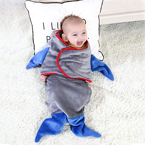 ZHANGYY Cartoon shape baby blanket flannel baby infant baby shark wrap blanket mermaid sleeping bag, gray shark, 33X70cm
