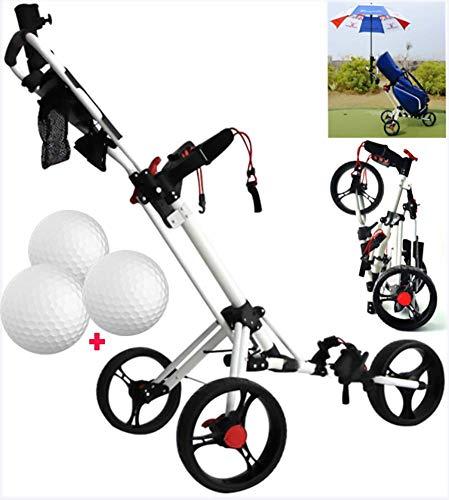 Carrello di Golf, 3 Manuale Ruote Push/Pull di Golf con Il portaombrelli, Scorecard e Bevande r, Pieghevole in Alluminio Golf Fitness ZHNGHENG (Color : Flesh)