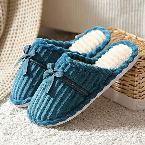 YUTRD ZCJUX Zapatillas de Invierno Mujeres Inicio Diapositivas Corduroy Designer Plush Invierno Zapatillas Mujeres Cálidas Cómodas Slip Ladies Slippers (Color : A, Size : 39-40)