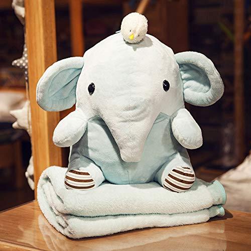 Cartoon Hippo Elefant Plüsch Kissen, Quilt Zwei-Use-Puppe, Decke Persönlichkeit Niedlichmädchen Spielzeug Elefanten 40Cm Puppen Und Decken (1,7 X 1,0M)