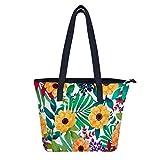Bolsas de verano con flores para el hombro, para mujer, resistente al agua, bolsa de mano, bolsa de compra duradera, con bolsillos con cremallera, para mujeres y niñas