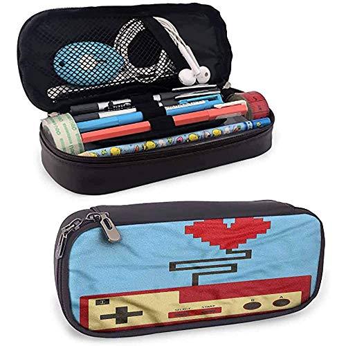 Bolsa de lápices Gamer de gran capacidad, estilo píxel, corazón conectado para la organización estacionaria de la oficina escolar