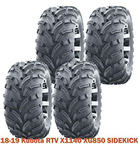 25x10-12 Complete Set WANDA Lit Mud ATV Tires fit 18-19 Kubota RTV X1140 XG850 SIDEKICK