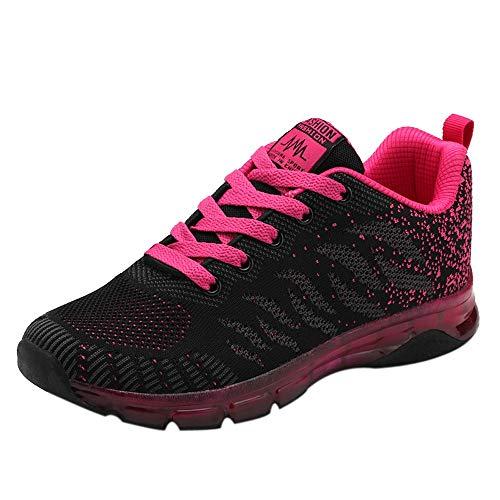 FNKDOR Damen Schuhe Luftpolster Turnschuhe Mesh Laufschuhe Freizeit Sneaker (36.5, Rosa)