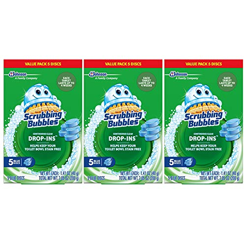 Scrubbing Bubbles Continuous Clean Drop-Ins Toilet Cleaner Tablet, Repels Tough Hard Water and Limescale Stains, Blue Discs, 5ct, 7.05 oz- Pack of 3 (15 Total Discs)