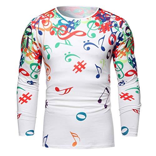 Xmiral Shirt Herren Musiknote Muster Lässig Langarm Hemd Top Umlegekragen Knopf Shirts Beiläufig Langärmliges Bluse Sweatshirts Camping Outdoor Tops T-Shirts(Weiß 2,S)