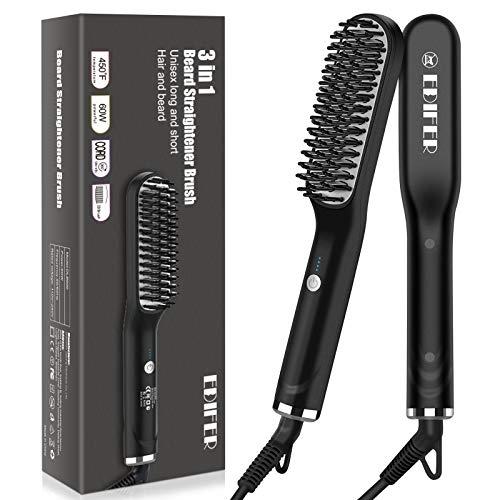 Beard Straightener, 2 in 1 Beard Straightener for Men, Anti-Scald Hair Style & Beard Straightener Brush, Portable Beard Straightener Comb with 3 Temperatures & Quick Electric Heated
