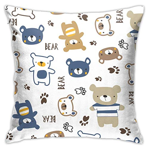Aiwo Cloth Bear Watercolor Decorative Throw Pillow Case Cushion Cover Soft Velvet Square Pillowcase for Home Sofa Car Bed Room Decor18 X 18' Inch Blue Yellow Red