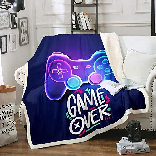 Homewish Gamepad - Manta de sherpa para adolescentes, tamaño individual, videojuegos, manta de felpa para niños y niñas adultas, palo de mando de franela para sala de estar, color morado
