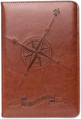 Compass Writing Journal by SohoSpark, Refillable Faux Leather, Lined Personal Diary for Travel, 6x8.75 Notebook for Writers. Fountain Pen Safe with Lay-Flat Binding.