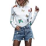 Jersey De Manga Estampado Floral Mujer Larga para Festivo De Mariposa Bonita Camisa A La Moda con Estampado De Otoño Cómodas Camisetas Ajustadas Esenciales Tops (Color : BeigeWhite, One Size : S)