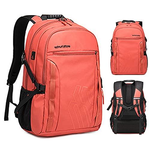 Zaino da Lavoro da Uomo, Borsa per Laptop con Porta di Ricarica USB, Zaino Antifurto Impermeabile, Zaino A Mano,Orange-20 inch