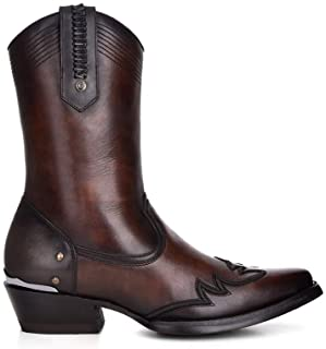 Cuadra Men`s Western Chic Boot in Genuine Leather with Zipper Brown