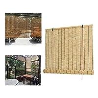 屋外用ローラーカーテン、自然な竹製シェード、パティオ用のブラックアウト竹ロールアップブラインド、竹製ローマンブラインド、アンチUV、換気、カスタムサイズ。,Naturel-55x63in/140x160cm