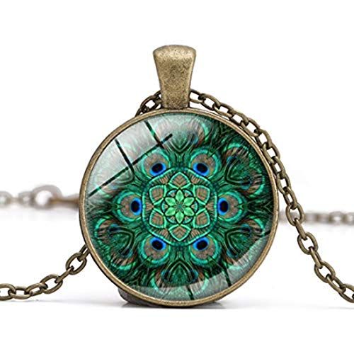 GYKMDF Collar de pavo real, collar de plumas de pavo real, joyería caleidoscopio, collar de bronce