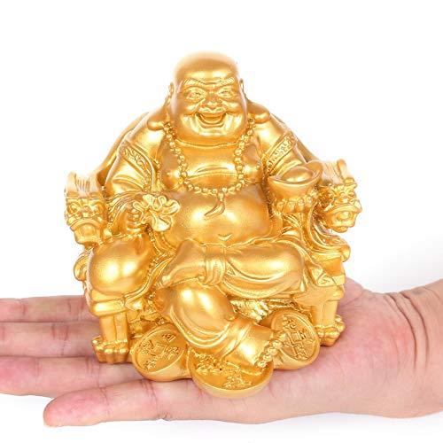 Maitreya Buddha Dekorationen Buddha lächelt oft sitzend auf dem Drachenstuhl Buddha Home Office Dekoration 7,5 cm * 6 cm * 8 cm Golden