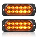 Pack of 2 Aluminum Housing Amber LED Trailer Turn Signal Brake Parking Side Maker Lights, AT-HAIHAN DOT Compliant Waterproof Surface Mount Lighting for Truck Tractor Jeep RV