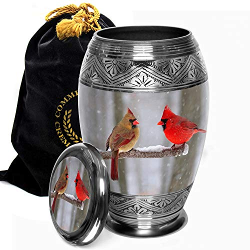 Cozy Cardinals Cremation Urns for Human Ashes Adult for Funeral, Burial, Columbarium or Home, Cremation Urns for Human Ashes Adult, Urns for Ashes (Cozy Cardinals, Large/Adult)