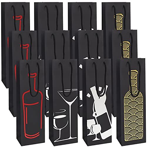 BELLE VOUS Schwarze Wein Geschenktüte (12er Pack) 4 Designs - Flaschendesign Geschenktaschen für Flaschen mit Seilgriffen - Champagner & Weinflaschen Verpackung für Geburtstage, Einweihung & Partys