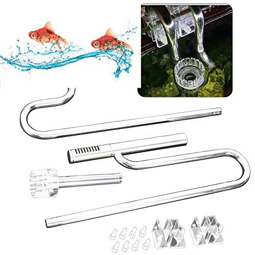 YUNRUX Oberflächenabsauger Aquarium Wasseroberfläche Skimmer Filterrohr Edelstahl Abflussrohre für Aqua-Wasserst 16cm